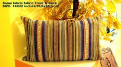 Lumbar happy colors  Hand loomed rainbow stripe 14x22 by SABDECO, €40.00
