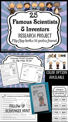 Famous Scientists and Inventors Research Project - Flip-flap or poster option… Science Lessons, Science Projects, Science Experiments, Stem Projects, Science Fair, Science Classroom, Teaching Science, Famous Scientists For Kids, Fourth Grade Science