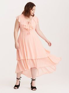 e6de11729ec9 Torrid Insider Lace Up Ruffle Maxi Dress/ Plus Size Clothing / TORRID Plus  Size Spring