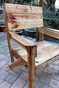 Rustic Pallet Wood Chair  Good for the garden or for the living room, upcycled from wood pallets. Each board on this chair retains the markings and patina from it's pallet past, which creates a rustic beauty that is comfortable, classic, and eco-conscious. No two chairs will ever be the same!