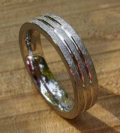 Unusual Scratched Titanium Wedding Ring | LOVE2HAVE UK! Titanium Wedding Rings, Titanium Rings, Unusual Wedding Rings, Wire Brushes, Jewelry Rings, Rings For Men, Jewelry Making, Future, Bracelets