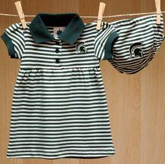 Michigan State Baby Striped Game Day Dress Bloomer