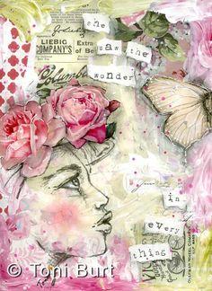 Original pinner sez: journal she saw the wonder - 750 wm. Mixed Media Journal, Mixed Media Collage, Collage Art, Watercolor Girl, Watercolor Journal, Art Journal Pages, Art Journals, Mixed Media Faces, Graphite Art