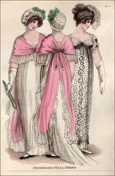 Promenade and Ball Dress June 1805 Vintage Girls, Vintage Outfits, Regency Dress, Regency Era, White Satin Dress, Muslin Dress, 1800s Fashion, Empire Style, Fantasy Women