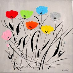 Tableau moderne multicolore - tableau contemporain fleurs colorées - peinture format 30x30