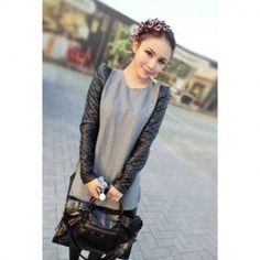 Graceful Style Scoop Neck PU Leather Splicing Long Sleeves Dress For Women