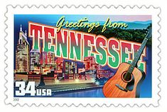 The Tennessee State Postage Stamp  Depicted above is the Tennessee state 34 cent stamp from the Greetings From America commemorative stamp series. The United States Postal Service released this stamp on April 4, 2002. The retro design of this stamp resembles the large letter postcards that were popular with tourists in the 1930's and 1940's.