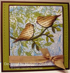 handmade card by Michelle Zendorf ... two-step bird punched from bookprint paper and sponged with brown antiquing colors ... luv how she extended the branc and changed out some of the leaf colors ... background looks like you're inside the tree with the birds and looking out through the leaves to the blue sky and clouds .. great scene creation!! ... awesome!! ... Stampin' Up!