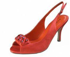Orange Satin Ladies Shoes By Menbur | Ladies Shoes. Coral Evening Shoes