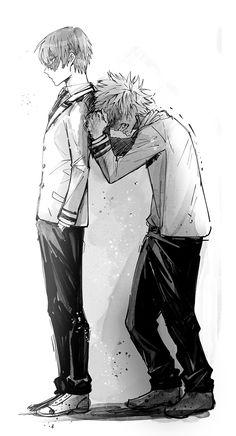 """Boku no Hero Academia    Todoroki Shouto, Katsuki Bakugou, i imagine bakugou saying """"u can't take Deku fucking away from me"""""""