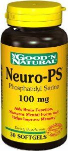 Good 'N Natural Neuro-PS Phosphatidyl Serine 100 mg. - 30 Softgels by Good n Natural. $15.99. 30 Rapid Release Softgels. Standardized to contain 20% Phosphatidyl Serine 100 mg. Neuro-PS 500 mg. GMP Certified. Supplement Facts Serving Size 1 Softgel Amount Per Serving %Daily Value Neuro-PS 500 mg (Phospholipid Complex from Soy Lecithin) (Standardized to contain 20% Phosphatidylserine,100 mg) Other Ingredients: Gelatin, Vegetable Glycerin, Natural Caramel Color, Titanium Dioxide...