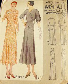 McCall 6922   ca. 1932 Ladies' & Misses' Dress