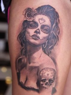sugar skull pin up girl tattoo - Google Search