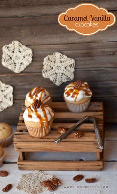 Caramel Vanilla Cupcakes with Pecans Recipe // Caramel Vanilla Cupcakes with Pecans With the touch of Fall in the air, I am sure kitchens all over are getting prepped with all things pumpkin or spiced. These vanilla cupcakes can make a great addition to your menu since the caramel and nuts add the perfect flavor for any season of the year. | ♥ pin @ Chic But Not Shabby Cupcakes //