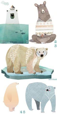 Types of bear illustration..love the polar bear