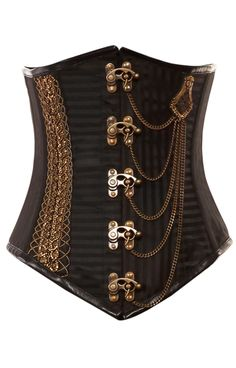 111 Brown Jacquard Steampunk Underbust Corset-special order item