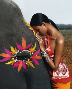 woman with painted elephant