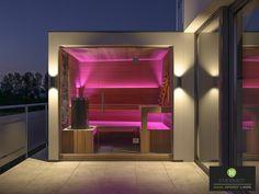 Outdoor Sauna / Gartensauna / finnische Sauna / Planung nach Kundenwunsch / 3D Planung / Harvia Indoor Outdoor, Outdoor Living, Outdoor Sauna, Backyard Pavilion, Stairs, Bath, Mirror, Architecture, Home Decor