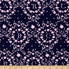 Michael Miller Cynthia Rowley Oh Baby ABC Scroll Pink from @fabricdotcom  Designed by Cynthia Rowley for Michael Miller fabrics, this cotton print fabric is perfect for quilting, apparel and home décor accents. Colors include pink, white and navy.