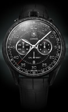 In Geneva TAG Heuer presented the lightweight Carrera Carbon Calibre 1887 Concept Chronograph Stylish Watches, Luxury Watches, Cool Watches, Watches For Men, Black Watches, Popular Watches, Amazing Watches, Beautiful Watches, Tag Heuer