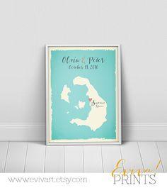 Santorini Greece Custom Wedding Print  Geography Love by evivart