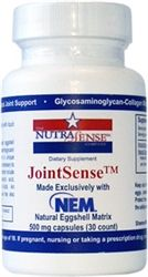 JointSense with NEM - 30 Vegetarian Capsules - JointSense™ is formulated with 500 mg per capsule of NEM™ which is a unique, all-natural egg protein matrix obtained by partially hydrolyzing natural eggshell membrane which is actually two individual membranes that form between the egg albumin and the eggshell.