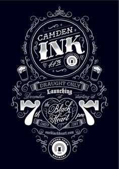Nicely incorporated content and design elements.tough but pretty! Typography / Poster for Camden Ink launch party by Tenfold Collective Typography Tumblr, Typography Love, Creative Typography, Vintage Typography, Typography Letters, Typography Inspiration, Typography Poster, Graphic Design Typography, Lettering Design