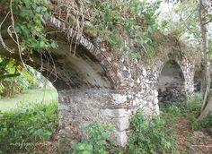 Arcos de mampostería sobre los que se extiende el canal del acueducto del Ingenio Alejandría