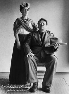 Frida Kahlo and Diego Rivera with hat by Nickolas Muray, 1940