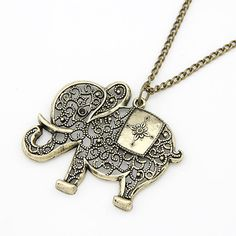 Cute Vintage Retro Charms Hollow Out Elephant