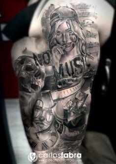 tatuaje+tatuajes+tattoo+tattoos+barcelona+espana+tatuador+carlos+fabra+cosa+fina+cosafina+brazo+full+sleve+no+music+no+party+chicana+girl+reloj+clock+skull+calavera.jpg (1131×1600)