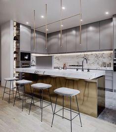 42 Stunning Modern Contemporary Kitchen Cabinet Design - Page 2 of 31 - KitchenRemodel. Home Decor Kitchen, New Kitchen, Home Kitchens, Kitchen Ideas, Kitchen Modern, Awesome Kitchen, Kitchen Tile, Minimalist Kitchen, Kitchen Furniture