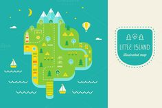 Resort Island Illustrated Map by Vectorbox on @creativemarket