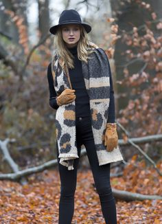 7c98db27e84 Take a walk in the Autumn leaves with Pia Rossini animal print blanket  scarf with tan suede gloves and black wool fedora hat.
