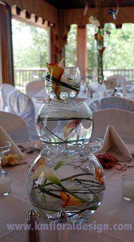Wedding, Flowers, Centerpiece, Fish, Bubble, Bowls