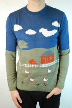 Men's Farmyard scene retro Christmas jumper