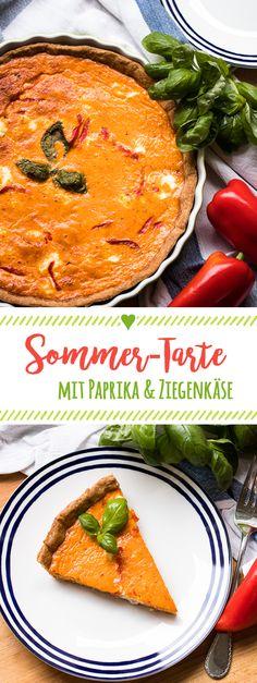 Mediterrane Tarte mit roter Paprika und Ziegenfrischkäse: Toll für Gäste, ein leichtes Abendessen und leckeres Mittagessen zum Mitnehmen! Rezept auf www.we-love-pasta.de