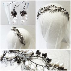 Hermione Harbutt Bespoke Dark Vine Headdress and matching Earrings | http://www.hermioneharbutt.com/wedding/hair_accessories/
