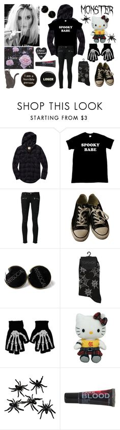 """""""Normal People Scare Me."""" by waywardghost69 ❤ liked on Polyvore featuring TNA, Paige Denim, Converse, Hello Kitty, Humör, emo and alternative"""