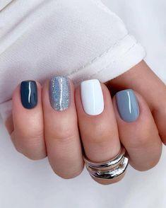 Blue Gel Nails, Pastel Nails, Acrylic Nails, Glitter Nails, Stylish Nails, Trendy Nails, White And Silver Nails, Bridesmaids Nails, Short Square Nails