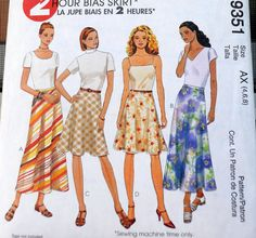McCall's 9351  2 Hour Bias Skirt  Easy Long or Short by Clutterina