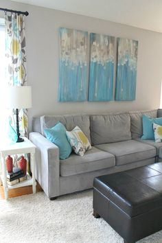 Accent Colors For Gray the never before seen living room | teal accents, grey couches and