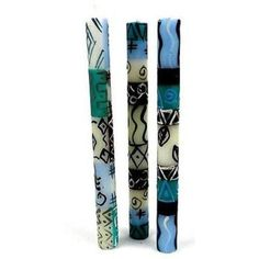 Set of Three Boxed Tall Hand-Painted Candles - Maji Design Handmade and Fair Trade. This set of three candles, hand-painted by South African artisans, arrives in a recycled cardboard box. Each candle is 9 inches tall by inches in diameter. Wooden Walking Sticks, Taper Candles, Handmade Candles, Fair Trade, Candlesticks, Decorative Items, Decorative Candles, Decorating Tips, Candle Holders