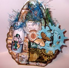 This is a bag I made using the,steam punk,and Alice in wonderland CD from MCS