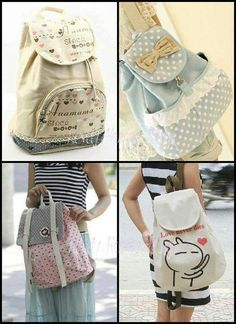 These backpacks are so kawaii. Kawaii Bags, Kawaii Clothes, Kawaii Fashion, Cute Fashion, Womens Fashion, Japanese Fashion, Asian Fashion, Mochila Tutorial, Backpack Bags
