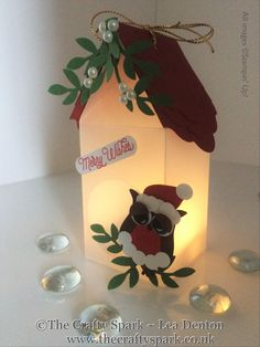 Santa Bird House Luminaire Tutorial - Stampin' Up! Christmas Paper Crafts, Christmas Tea, Stampin Up Christmas, Christmas Makes, Christmas Activities, Holiday, Owl Punch Cards, Pop Up Cards, Stampin Up Karten