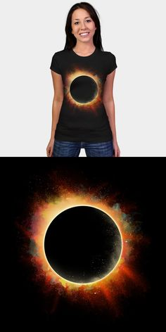 Colorful Solar Eclipse T Shirt | I love this pretty design of the moon in front of a fiery sun. | Visit http://shirtminion.com/2016/01/colorful-solar-eclipse-t-shirt/