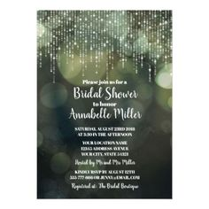 Glam White Fairy Lights dark BOKEH Bridal Shower Card - wedding invitations diy cyo special idea personalize card