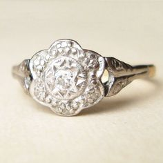 Art Deco Diamond Flower Ring Vintage 18k Gold Ring by luxedeluxe, $335.00
