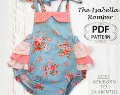 Baby sewing pattern for romper sunsuit, PDF Sewing pattern for baby girls toddler, Clothing pattern, Baby clothes, Isabella Romper